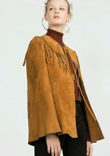 ZARA STUDIO TOBACCO CAPE JACKET SUEDE LEATHER WITH FRINGING ONE SIZE M