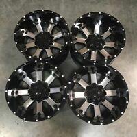 Used 20x10 D8 fit Ford F250 F350 8x170 -24 Black Machined Face Wheels set(4)