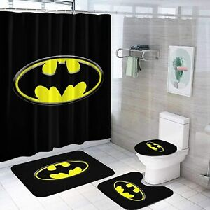Batman Bathroom Rugs Set 4PCS Shower Curtain Anti-Slip Toilet Lid Mat Cover Gift