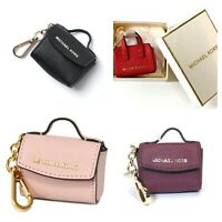 NWT Michael Kors Ava Key Fob Bag Charm Coin Purse Leather Black/Ballet/Red