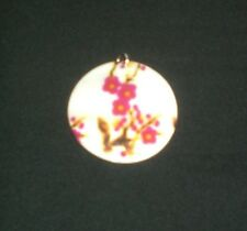 """Beautiful 2"""" Round Mother Of Pearl Pendant Pink Floral Flower Design Sea Shell"""