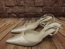 Ladies Benjamin Adams Ivory Satin Bridal Bead Trim Slingback Shoes Size UK 37