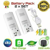 2x 2800mAh Rechargeable Battery Pack for Nintendo Wii Remote Control White Cover