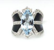 Corte Marquesa Aguamarina & Diamante Anillo en 18ct Oro Blanco TW 4.09 CT-