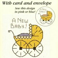 Baby Pram Counted Cross Stitch Kit - Mouseloft - Needle, Threads, Aida & Card