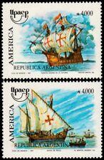 ✔️ ARGENTINA 1991 - UPAEP AMERICA SHIPS - MI. 2094/2095 ** MNH OG [101.005]