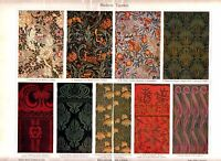 1898 ART NOUVEAU WALLPAPER ORNAMENTS Antique Litho Print