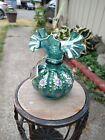 Fenton green carnival glass hand painted beaded melon vase w/Fenton box