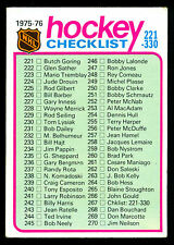 1975 76 TOPPS HOCKEY #267 CHECKLIST 221-330 UNMARKED EX-NM CARD