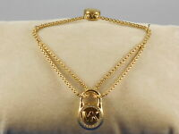 Michael Kors Gold Plated MK LOGO Pave' Lock Pulley Bracelet MKJ7380 710 $85