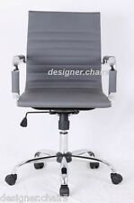 GREY Designer Style Ribbed Designer Office Chair Faux Leather New