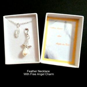 Feathers Appear When Angels are Near Remembrance Small Silver Feather Necklace