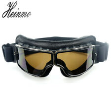 Motorcycle Retro Vintage Aviator Pilot Bikes Racing Goggles Helmet Glasses Black