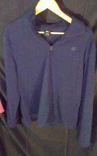 Vintage Men's Starter 1/4 Zip Pullover Fleece Shirt Waffle Texture Navy Blue L