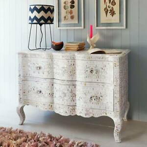 Handmade Mother of Pearl Inlay White Dresser