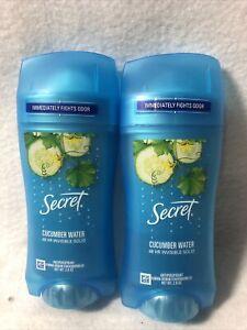 Secret Invisible Solid Antiperspirant Deodorant Cucumber Water 2.6 oz 2 pack