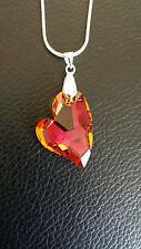 Silver Plated Big Swarovski® Heart Pendant Necklace Orange Pink
