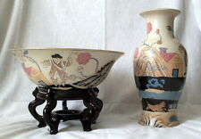 Collectible Decorative Hand Painted Large Bowl & Vase Made in China with Stand