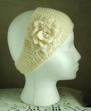 Pearl White Ivory Adult Handmade Acrylic Crochet Flowered Headband