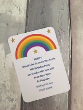 Personalised Rainbow & Stars Birthday Party Invitations Pk of 10 with envelopes