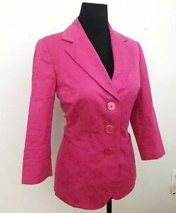 Dana Buchman Petite Size 10 Fuchsia/Pink Floral Print Blazer 3/4 Sleeve Jacket