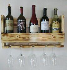 Wine Rack Shelf & Glass Holder Wall Mount Reclaimed Wood Handmade Rustic