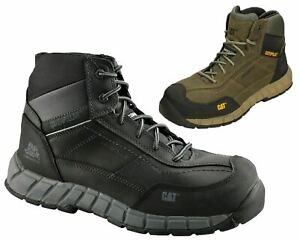 Mens Caterpillar CAT Streamline Wide Leather Safety Composite Toe Cap Work Boots