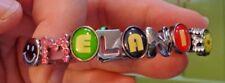 "6.5""  6mm Slide letters Says MELANIE 8 charms Pink Rubber Bracelet Charm"
