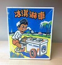 Vintage VTG Ice Cream Vendor Man with Cart MS405 Tin Toy from China 1970's w/Box