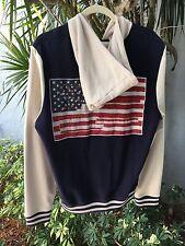 American Flag Topman SZ S Cotton Knit Snap Front Hoodie Jacket