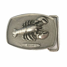 Vtg Maine Lobster Belt buckle State Seafood Fishing Fisherman Nautical Claw 70s