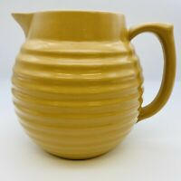 "Over And Back Yellow Ware Gold Tan Beige 7"" Beehive Pitcher"