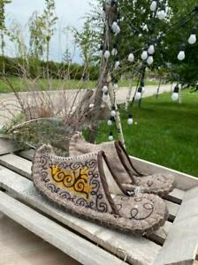Kazakhstan mens slippers handmade from eco friendly wool felted size 41-42 eur