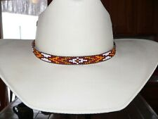 Native American Styled Hand Beaded Hatband on leather cord.Western Cowboy/Girl