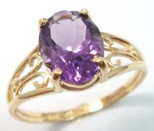 SYJEWLRYEMPIRE FAB 10KT YELLOW GOLD OVAL CUT NATURAL AMETHYST RING SIZE7 R1302