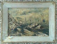 Ancienne peinture sur PANNEAU. Ecole Française Impressionniste. MARINE .BOUDIN