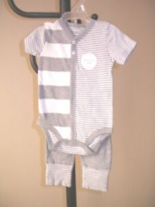 Burt's Bees Baby Set ~ Organic Cotton ~ Gray & White -Top & Pants - 3 - 6 mo