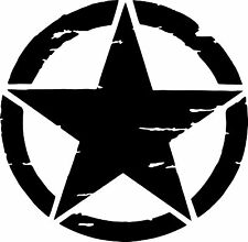 US Army Military Distressed Star Sticker - black gloss 540mm x 540mm