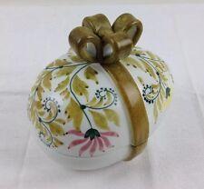 "6"" Vtg Meiselman Majolica Pottery Easter Egg Candy Trinket Dish w Ribbon Lid"