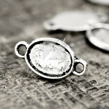 200pcs Tibetan Silver Charm Pendant Connector Links Jewelry Findings Oval