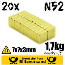 20x Neodym Magnete Quader 7x7x3 N52  Whiteboard Magnet Magnetic Magneten basteln