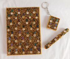 Handcrafted Golden & Multi Beaded Journal / Diary with Pen & Keychain