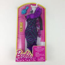 Barbie Fashions Purple Teal Black One Shoulder Dress with Purse and Shoes