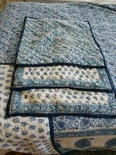 POTTERY BARN Paisley Floral Blue King Quilt 2 Standard Shams & 1 Euro Sham Set