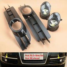 Fit For AUDI A6 C6 05-08 Front bumper fog light LED lamp & grilles grill set new