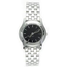 $995 GUCCI Womens Black 27mm Dial Stainless Steel Swiss Watch YA055518