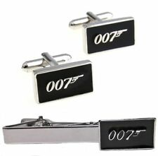 JAMES BOND 007 Silvertone/Black Enamel CUFFLINKS & TIE CLIP SET