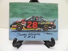DAVEY ALLISON CAR-HAND PAINTED ON TILE WITH EASEL BY ARTIST W. W. HOFFERT