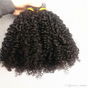 Brazilian Human Virgin Remy i Tip Pre Bonded Hair Extensions Kinky Curly