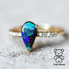 Pear Shaped Australian Boulder Opal & Diamond Engagement Ring 14K Yellow Gold